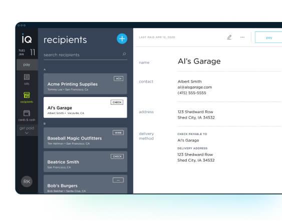 payments list screenshot